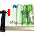 Euro bill in clamp — Stock Photo