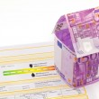 House made of euro banknotes and energy performance certificate — Stock Photo