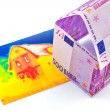 Stock Photo: House made of euro banknotes and infrared image
