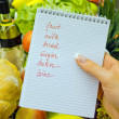 Shopping list in the supermarket (english) — Stock Photo #14875893