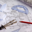 Stock Photo: Blueprint of a house. construction