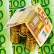 House of euro coins money — Stock Photo