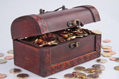 Treasure chest with euro coins — Stock Photo