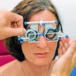 Stock Photo: Vision test at optici/ eye doctor