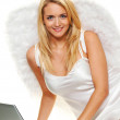 Angel for christmas with laptop — Stock Photo #14897601