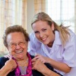 Stock Photo: Home care of old lady