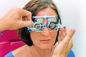 Vision test at the optician / eye doctor — Stock Photo