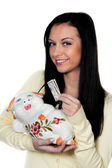 Woman with piggy bank and dollar bill. save. — Stock Photo