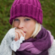 Stock Photo: Woman has a cold and has a cold