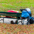 Homeless man on a park bench — Stock Photo
