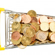 Cart and euro coins — Stock Photo