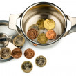 Saucepand euro coins — Stock Photo #18262677