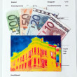 Stockfoto: Save energy. house with thermal imaging camera