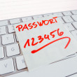 Note on computer keyboard: password 123456 — Stock Photo