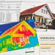 Save energy. house with thermal imaging camera — Stok fotoğraf