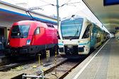 Western railway locomotives and öbb — Stock Photo