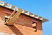 Construction site and shell of a house — Stock Photo