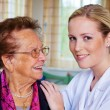 Home care of the old lady — Stock Photo #18300109
