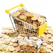 Stock Photo: Cart and euro coins