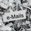 Shredded paper keyword emails — 图库照片