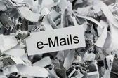 Shredded paper keyword emails — Стоковое фото