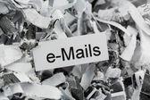 Shredded paper keyword emails — Stock Photo