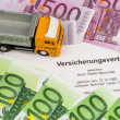 Vertsicherungsvertrag for new trucks - Stock Photo
