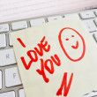 Royalty-Free Stock Photo: Note on computer keyboard: i love you