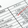 Numbers of a statistic with red pencil. german. - Stock Photo