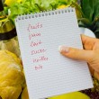 Shopping list at the grocery store (french) - 图库照片