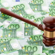 Stock Photo: Gavel and euro banknotes