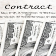 Dollar currency notes and english contract — Stock Photo #19676097