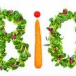 Foto Stock: Word bio of salad and vegetables
