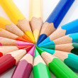 Lots of colored crayons - Stock Photo