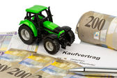 Purchase contract for new tractor — Stock Photo