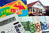 Save energy. house with thermal imaging camera — Stock Photo