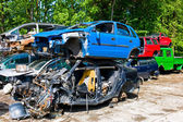 Junk cars in a junkyard — Stock Photo