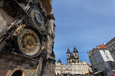 Prague astronomical clock and church of the virgin mary — Stock Photo