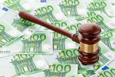 Gavel and euro banknotes — Stock Photo