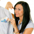 Woman pulls a man out of his pocket swiss francs - Stock Photo