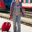 Stock Photo: Mature aged couple at train station
