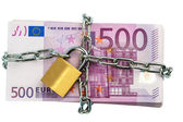 Euro notes with chain and padlock — Stock Photo