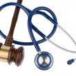 Gavel and stethoscope — Stock Photo