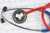 Stéthoscope et l'électrocardiogramme — Photo