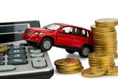 Cost of car. with calculator — Stok fotoğraf