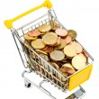 Cart and euro coins — Stock Photo #21201637