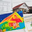Save energy. house with thermal imaging camera — Stock Photo #21205333