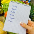 Shopping list in the supermarket (english) — 图库照片