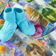 Children socks with swiss franc banknotes — Stock Photo #21206177