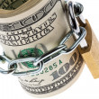 U.s. dollar bills are locked with a lock — Stock Photo